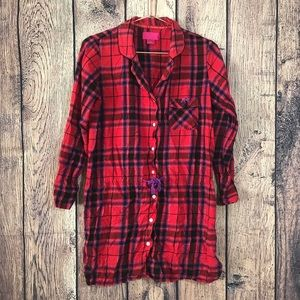 Victoria's Secret Flannel Pajama Sleep Tunic M Red